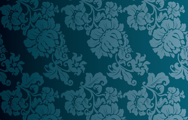 Photo wallpaper flowers, blue, background, vintage