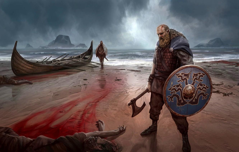 Wallpaper Sea Boat Shield Viking Nordic Battle Axe Images For Desktop Section Prochee Download