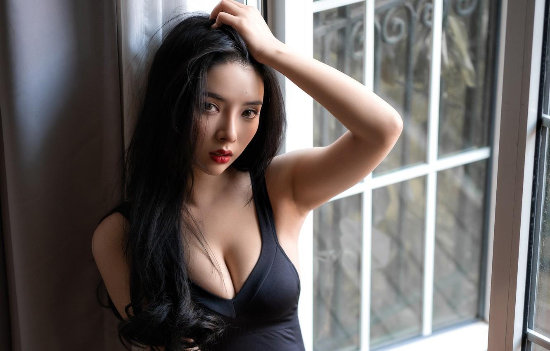 Photo wallpaper look, sexy, pose, model, portrait, makeup, dress, brunette, hairstyle, Asian, beauty, sitting, in black, window, …