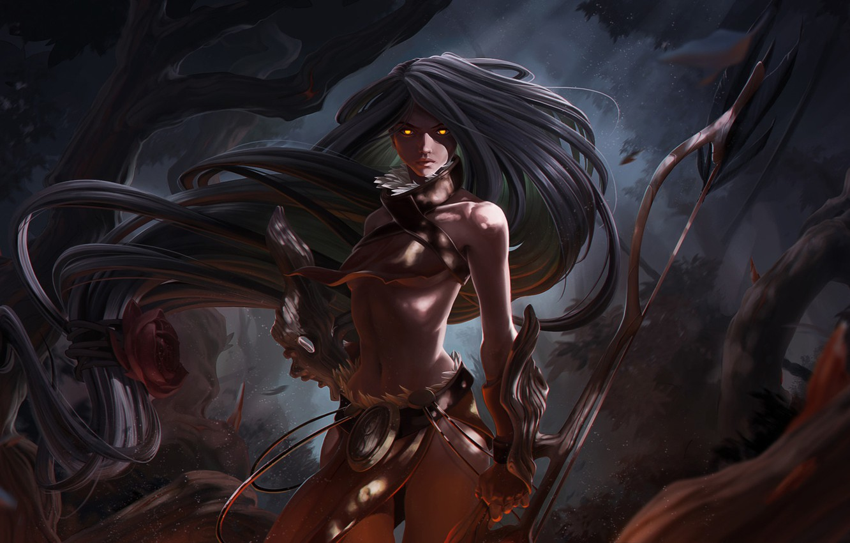 Photo wallpaper Girl, Forest, Art, Warrior, Fiction, Illustration, Characters, Stylized, Amazon, Amazone, Game Art, Sentinel Illustration, by …