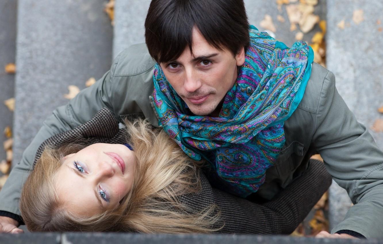 Photo wallpaper autumn, look, girl, pair, male, lovers