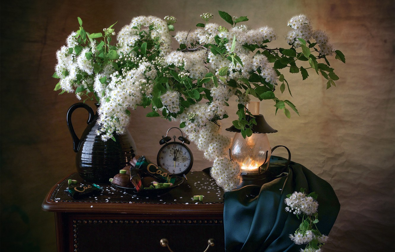 Photo wallpaper branches, watch, lamp, alarm clock, sweets, fabric, pitcher, still life, Spiraea
