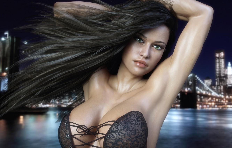 Photo wallpaper girl, the city, hair