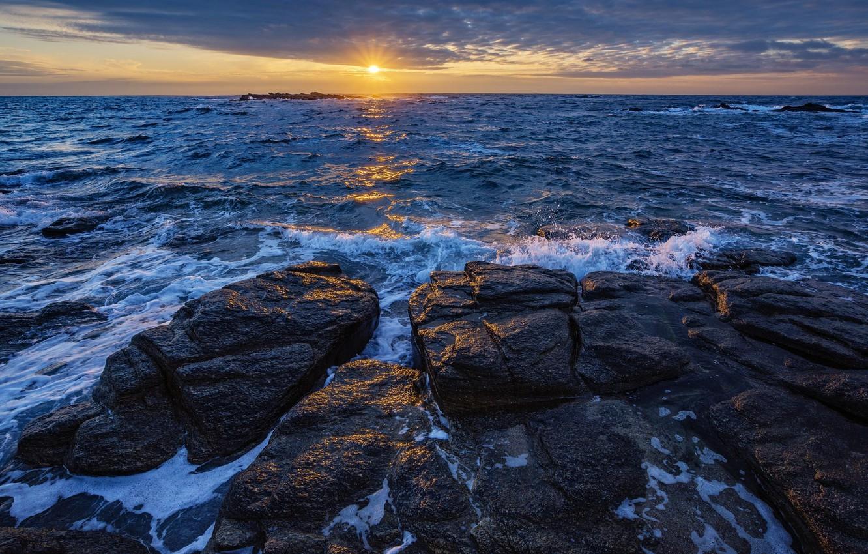 Photo wallpaper sea, the sun, sunset, stones, coast