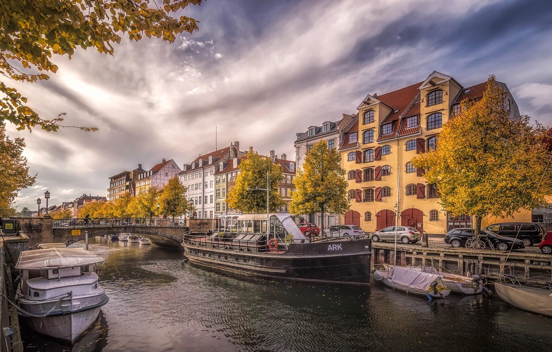 Photo wallpaper autumn, the sky, clouds, trees, machine, bridge, river, home, boats, Denmark, channel, boats, bikes, Copenhagen