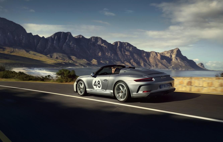Photo wallpaper 911, Porsche, Speedster, 991, on the road, 2019, gray-silver, 991.2