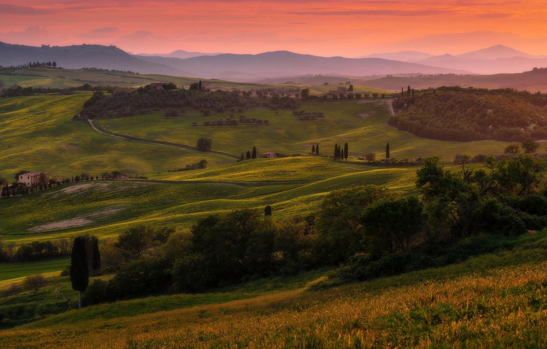 Photo wallpaper summer, trees, sunset, mountains, fog, hills, field, dal, the evening, green, Italy, haze, houses, settlement, …