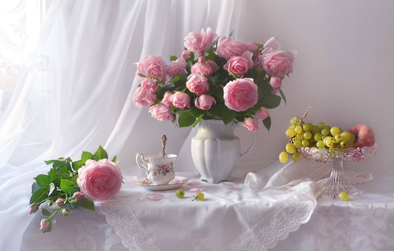 Photo wallpaper flowers, style, roses, bouquet, grapes, pink, fruit, still life, napkin, tulle, Valentina Fencing