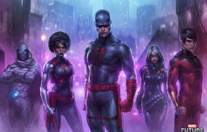 Photo wallpaper Rain, Heroes, Costume, Mask, Heroes, Superheroes, Art, Art, Rain, Marvel, Daredevil, Comics, Daredevil, Mask, Marvel, …