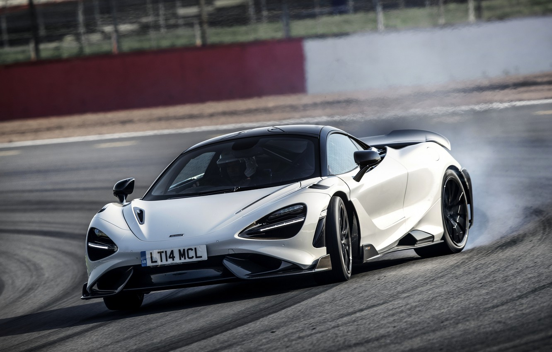 Photo wallpaper white, smoke, McLaren, turn, track, 2020, 765LT