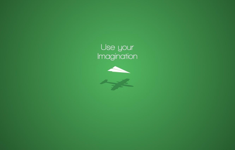 Photo wallpaper aircraft, minimalism, plane, digital art, artwork, imagination, simple background, green background, motivational, Paper plane