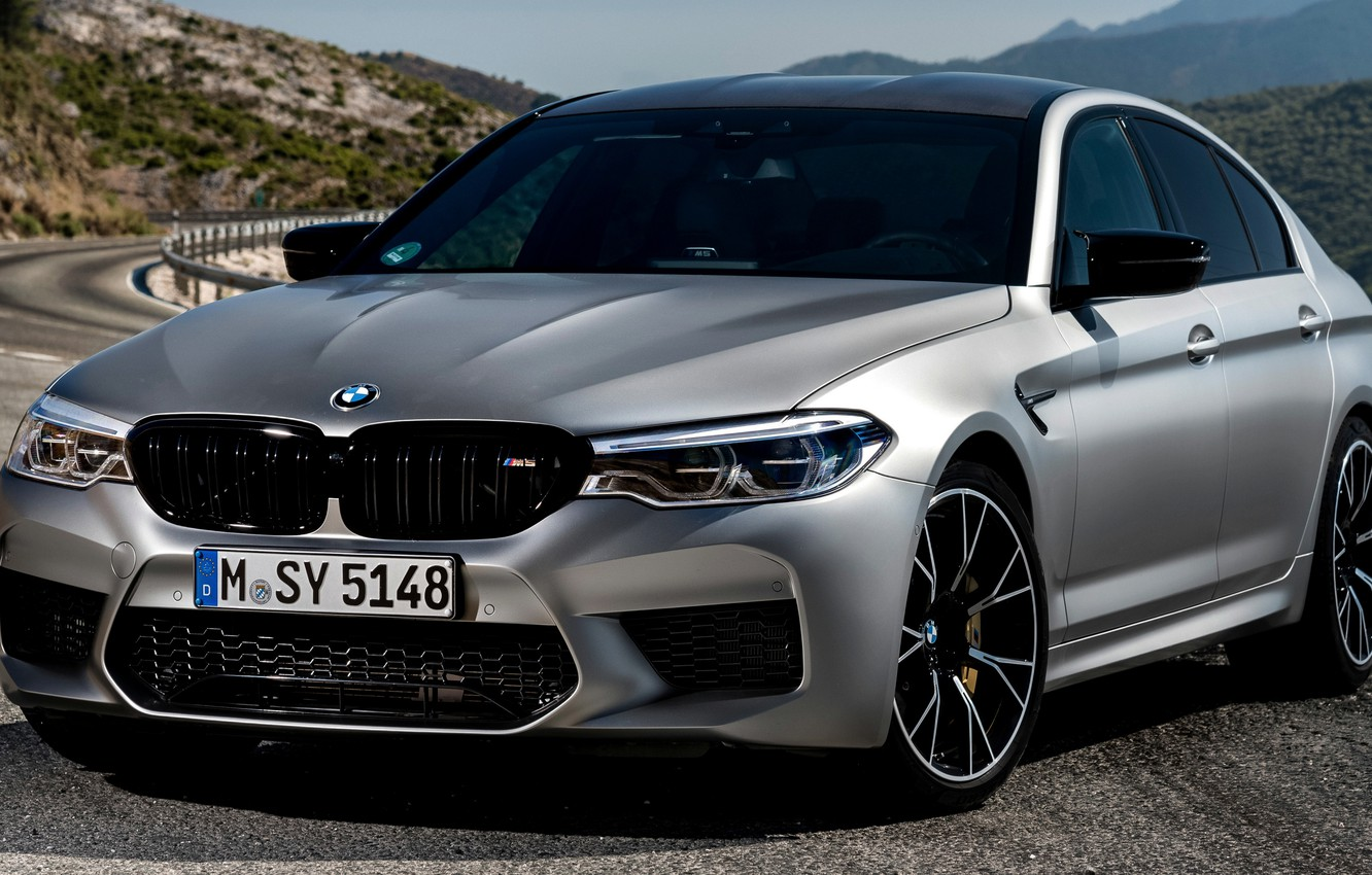 Photo wallpaper grey, BMW, the fence, sedan, mountain road, 4x4, 2018, four-door, M5, V8, F90, M5 Competition
