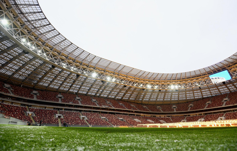 Photo wallpaper Sport, Football, Russia, Stadium, Luzhniki, Stadium, Lawn, Tribune, Tribune, Luzhniki, Luzhniki Stadium, The Main Stadium, ...