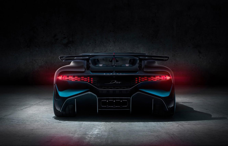 Photo wallpaper background, rear view, hypercar, Divo, Bugatti Divo, 2019 Bugatti Divo