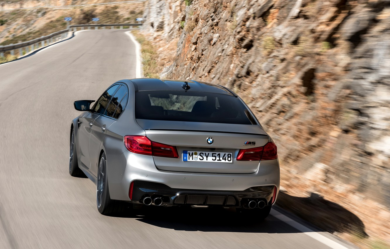 Photo wallpaper road, grey, BMW, sedan, rear view, 4x4, 2018, the slope of the mountain, four-door, M5, …