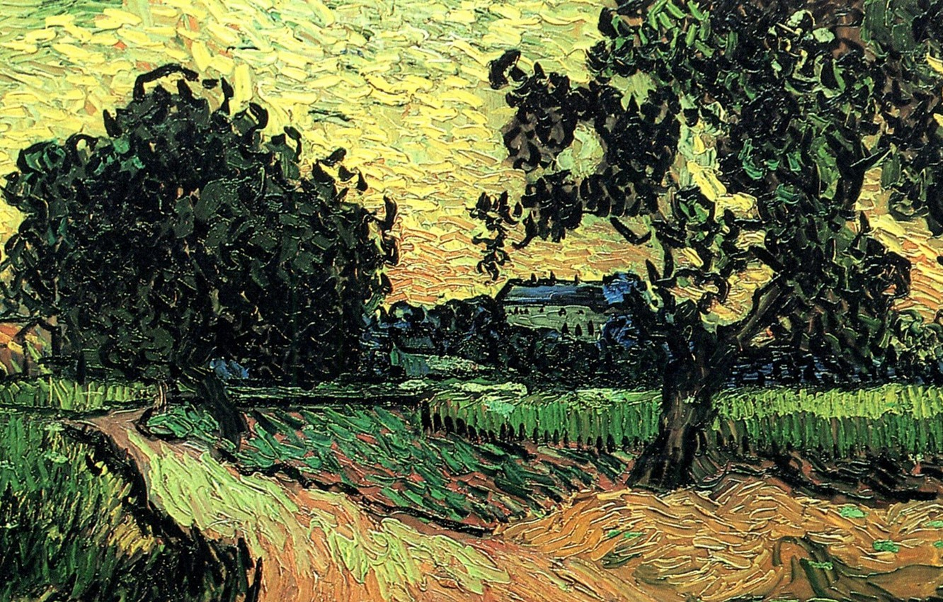 Photo wallpaper Vincent van Gogh, at Sunset, the Chateau of Auvers, Landscape with