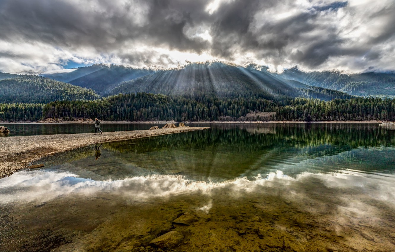 Photo wallpaper forest, lake, mountain
