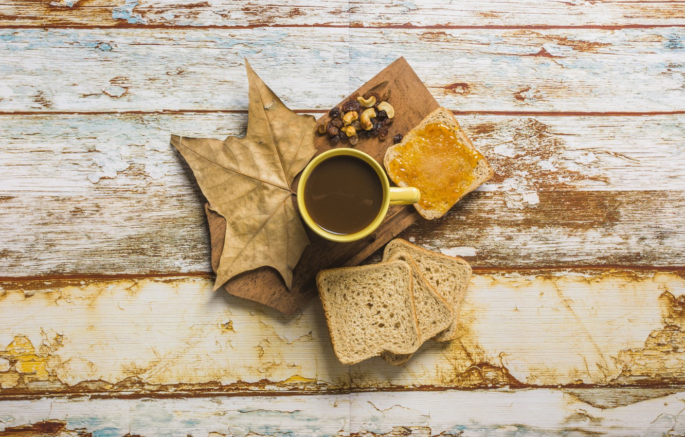 Photo wallpaper autumn, leaves, background, tree, coffee, bread, Cup, wood, autumn, leaves, cup, jam, coffee, toast, breakfast, …