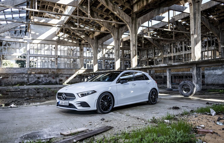 Photo wallpaper Mercedes, White, 2018, A-class