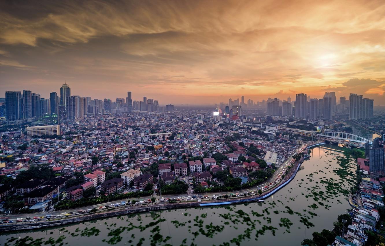 Photo wallpaper sunset, bridge, the city, river, Manila