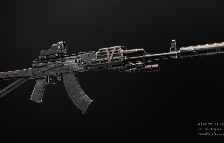 Photo wallpaper rendering, weapons, tuning, Machine, Gun, weapon, render, Kalashnikov, render, 3d art, AKM, Assault rifle, Russian, …