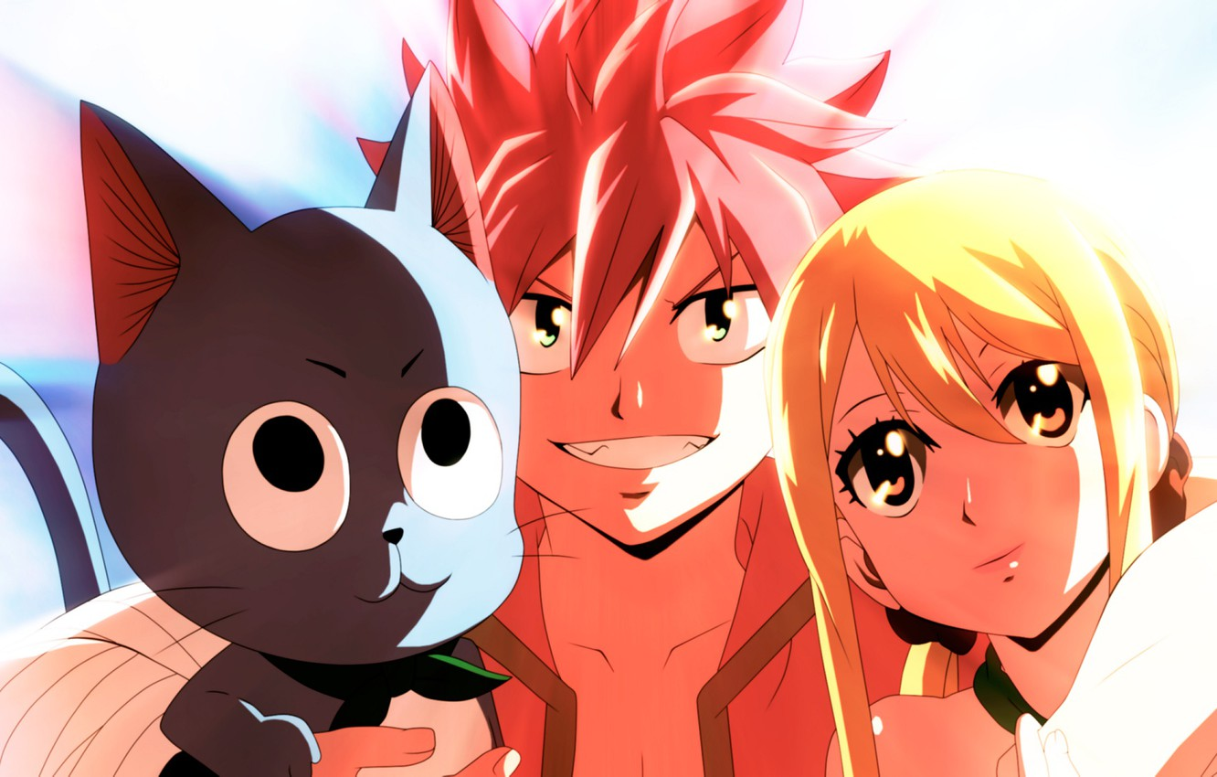 Wallpaper Cat Girl Guy Fairy Tail Natsu Lucy Happy Fairy Tail