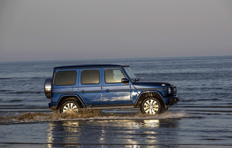 Wallpaper water, blue, reflection, Mercedes-Benz, SUV, 4x4