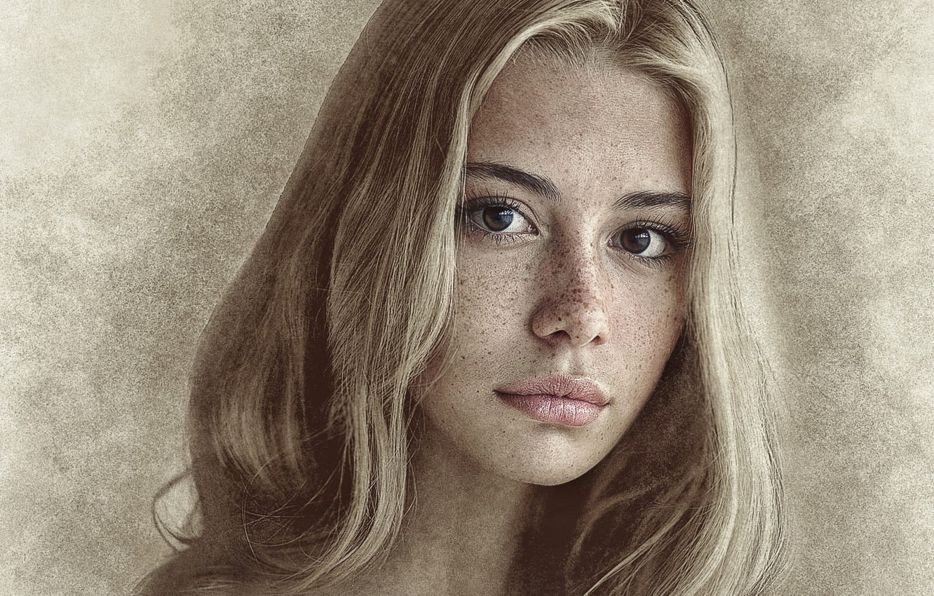 Photo wallpaper girl, photoshop, picture, pencil drawing