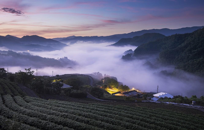 Photo wallpaper field, the sky, mountains, lights, view, Asia, houses, twilight, settlement, landing, arable land