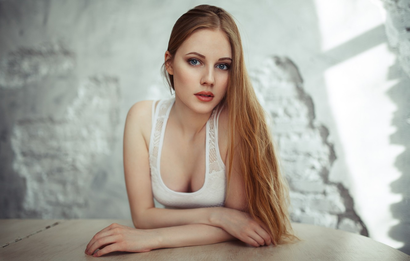 Photo wallpaper girl, cleavage, long hair, breast, photo, photographer, blue eyes, model, lips, face, blonde, chest, white …