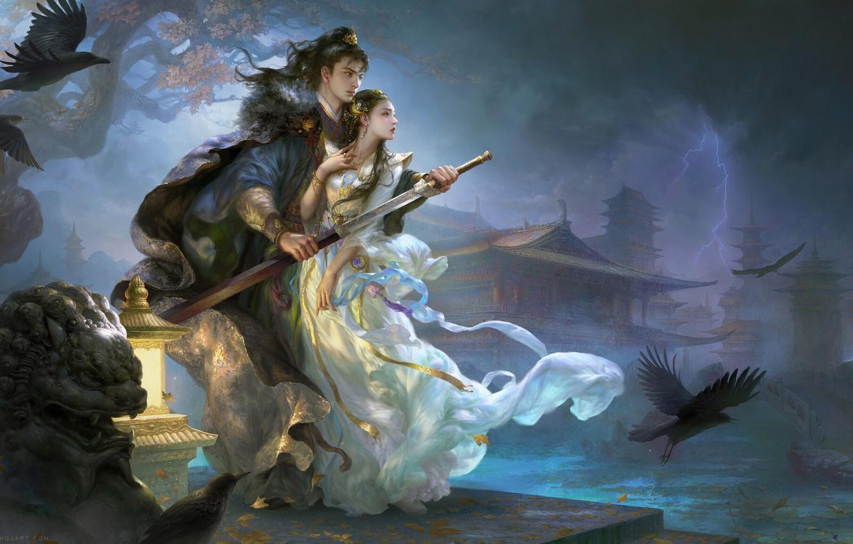 Photo wallpaper night, weapons, lightning, sword, fantasy, art, two, Celebrate years, Huang Guangjian