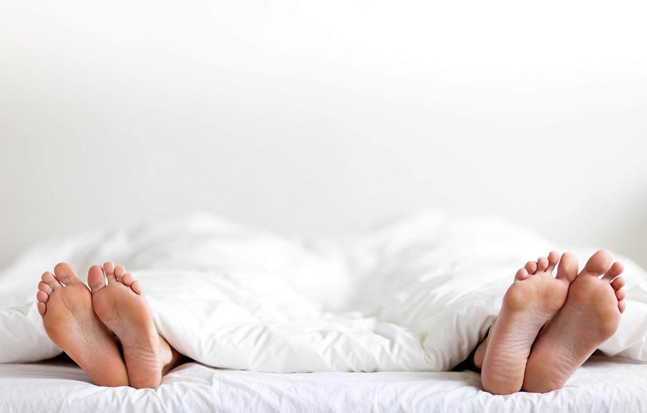 Photo wallpaper white, couple, fingers, sheets, feet, marriage