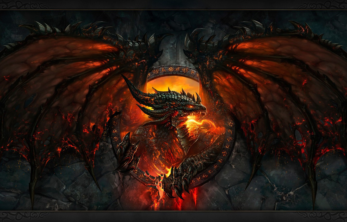 Photo wallpaper flame, scales, mouth, claws, fangs, evil, horror, world of warcraft, cataclysm, fire-breathing dragon, bat wings