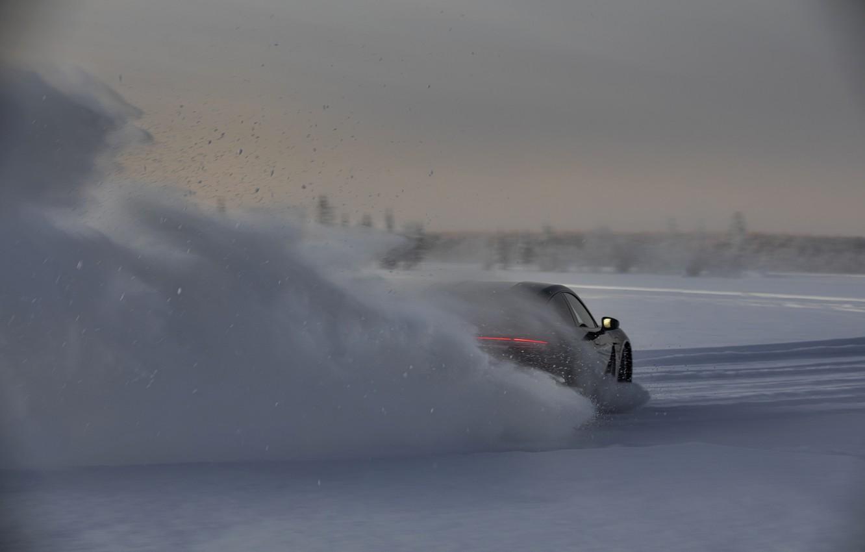 Photo wallpaper snow, black, Porsche, ass, slide, 2020, Taycan, Taycan 4S