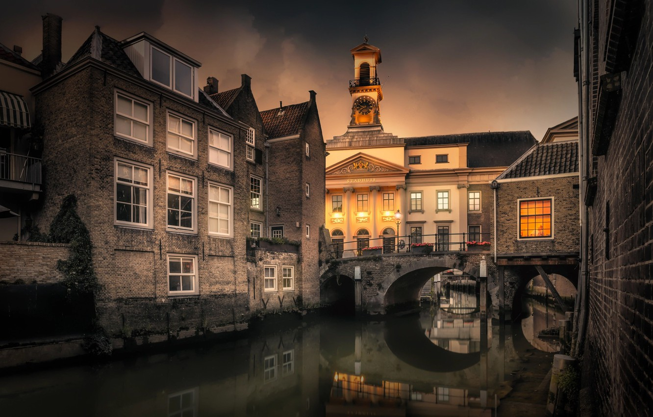 Photo wallpaper water, bridge, the city, building, tower, home, the evening, channel, Holland, Chiel Koolhaas