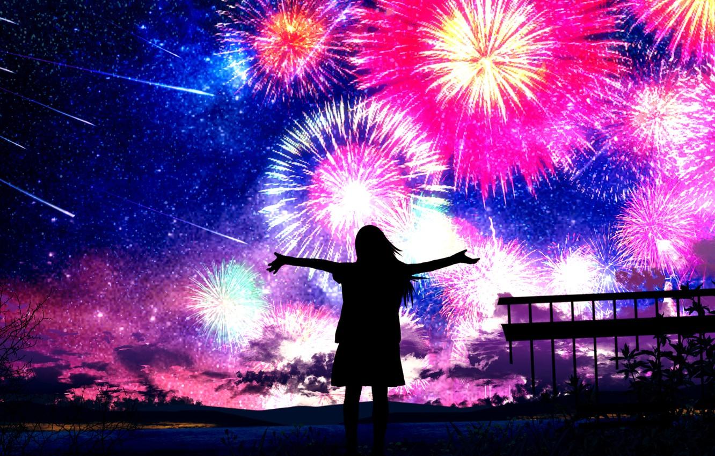Photo wallpaper the sky, girl, night, fireworks, Starfall
