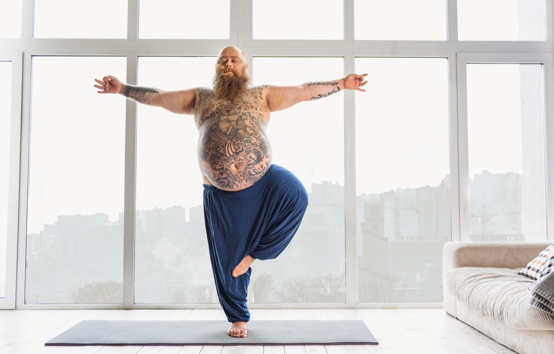 Photo wallpaper pose, tattoos, yoga, beard, fat