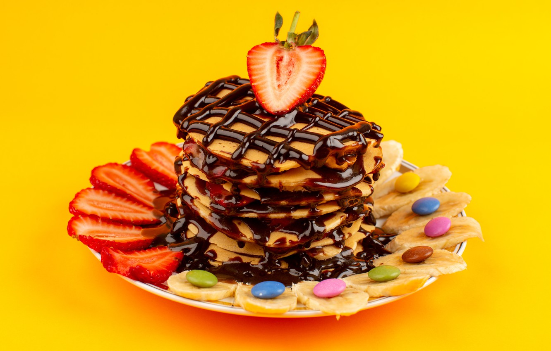 Photo wallpaper berries, background, chocolate, strawberry, candy, bananas, dessert, pills, pancakes, pancake