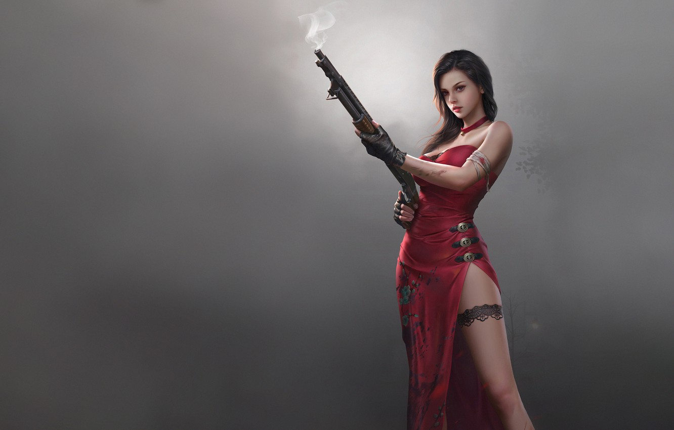 Photo wallpaper Red, Girl, Fog, The game, Asian, Dress, Weapons, Beauty, Resident Evil, Beauty, Game, Weapon, Fan …