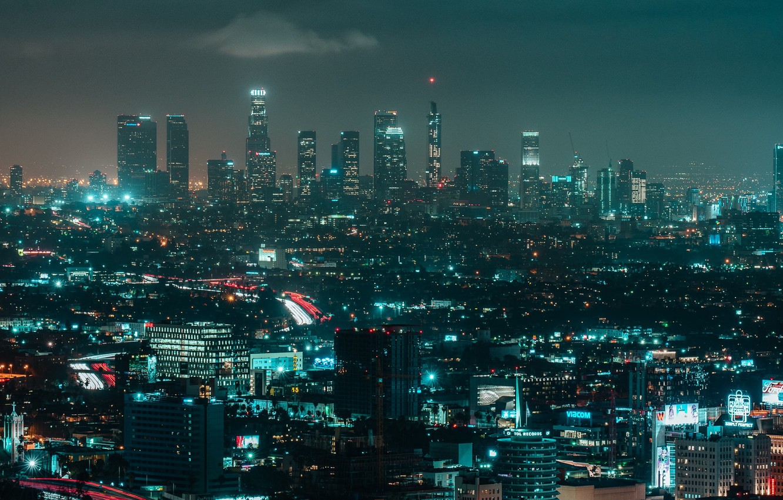 Photo wallpaper night, the city, lights, building, night city, megapolis