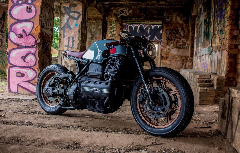 Photo wallpaper engine, tuning, BMW, motorcycle, the ruins, black, moto, custom, BMW K100