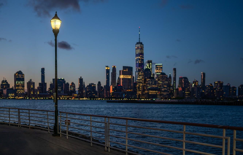 Photo wallpaper lights, USA, promenade, Manhattan, Hudson Square