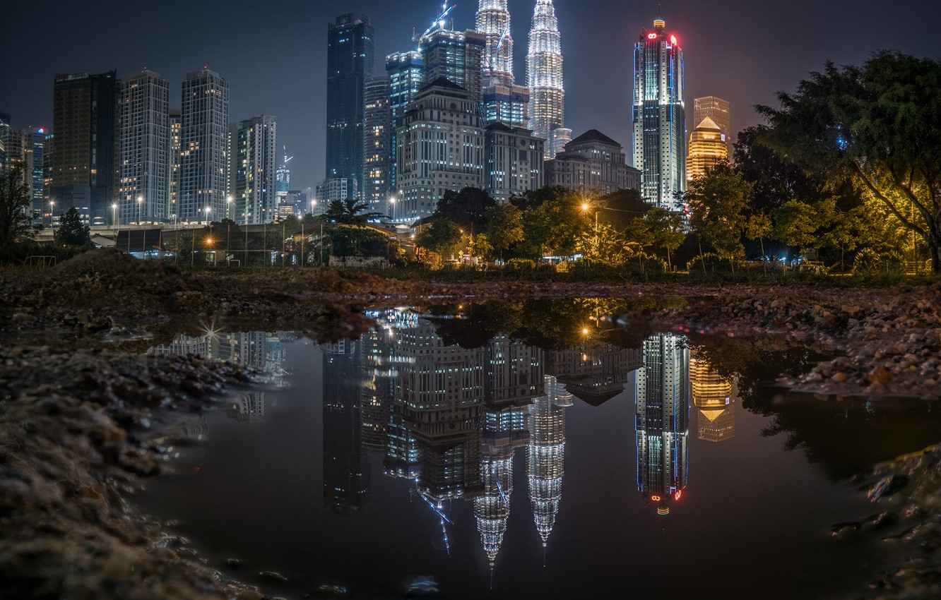Photo wallpaper the city, reflection, building, the evening, puddle, lighting, skyscrapers, skyscrapers, Malaysia, Kuala Lumpur