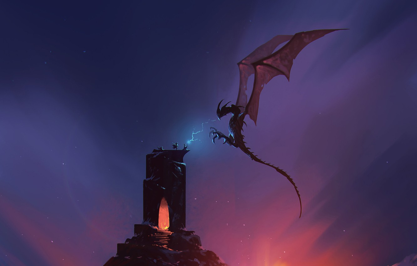 Photo wallpaper Tower, Figure, Dragon, Monster, Dawn, Battle, Lizard, Magic, Battle, Dragon, Art, Art, Fiction, Sunrise, Omar ...