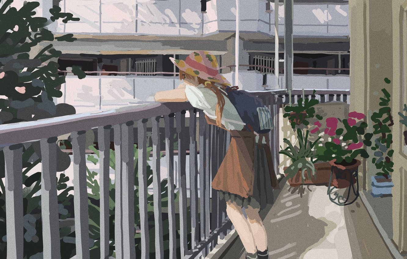 Photo wallpaper home, hat, railings, red, schoolgirl, backpack, plants and flowers, summer day, on the balcony, loggia, …