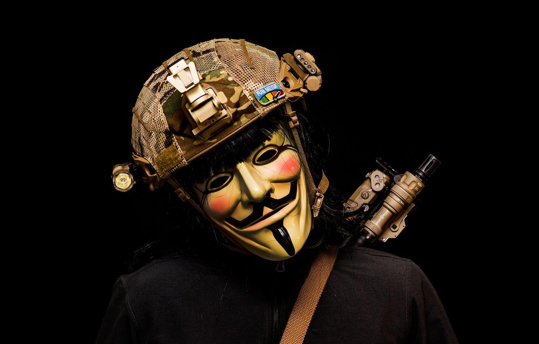 Photo wallpaper mask, helmet, male, Revenge