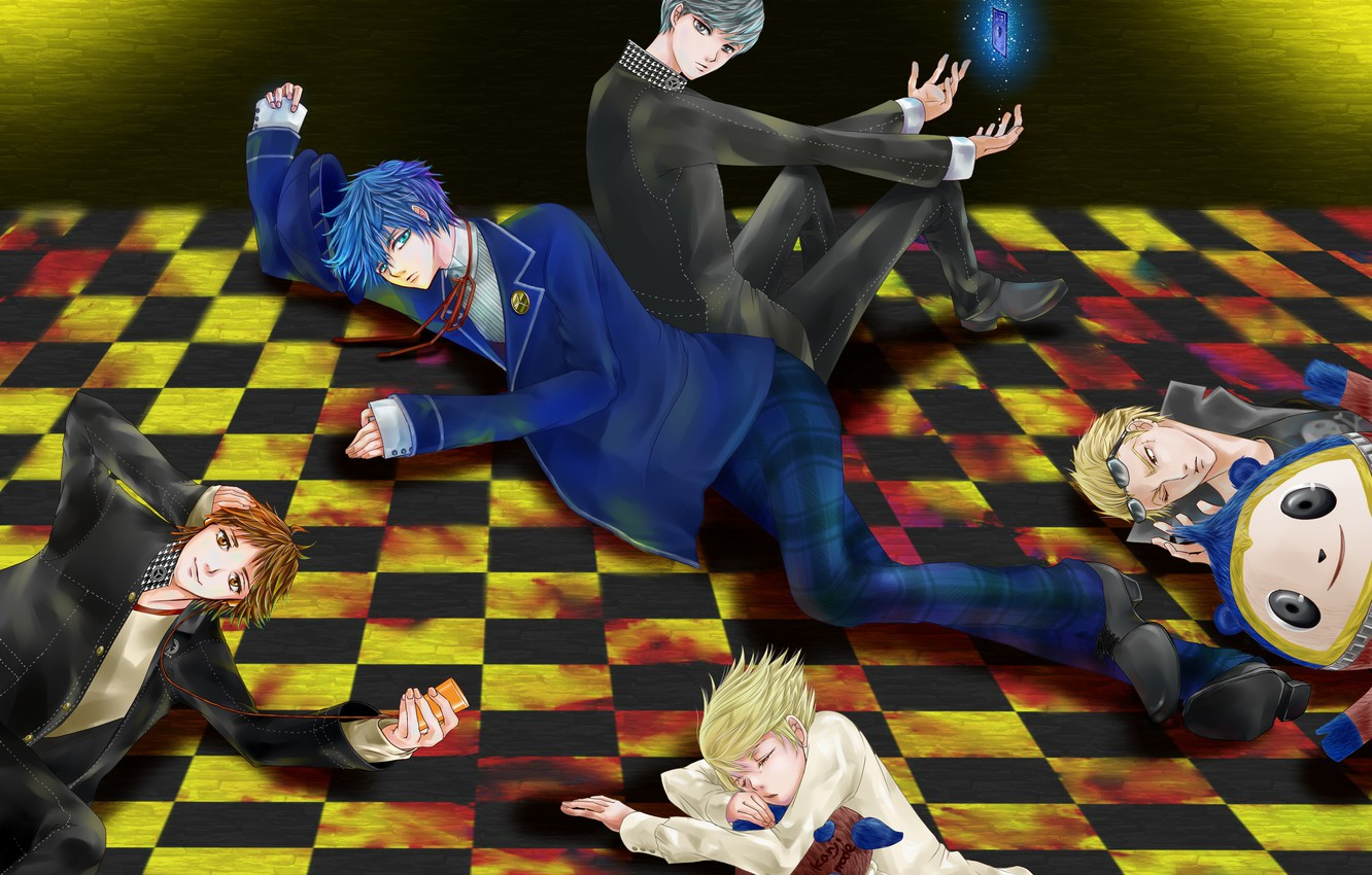 Photo wallpaper the game, anime, art, floor, guys, characters, lie, person, Persona