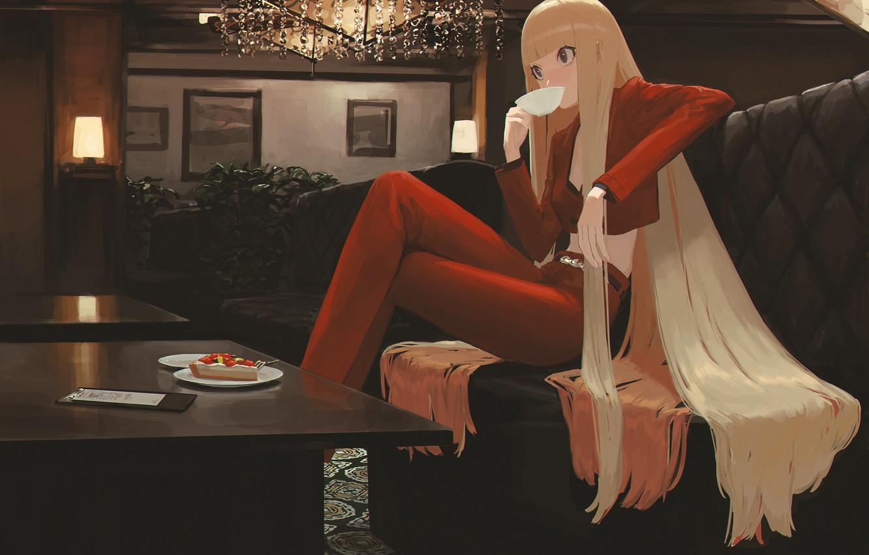 Photo wallpaper girl, tea, pie, long hair