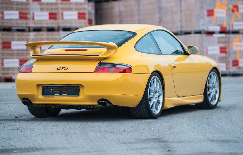 Photo wallpaper Yellow, Sportcar, Back, Porsche 996 GT3, German Car