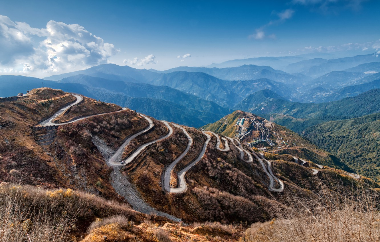 Photo wallpaper road, mountains, slope, curves